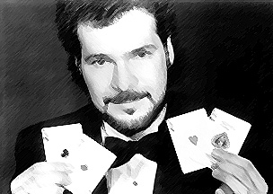 Johnny Ace Palmer-magic cards with pencil strokes